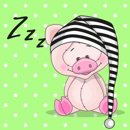 Sleeping pig in a cap