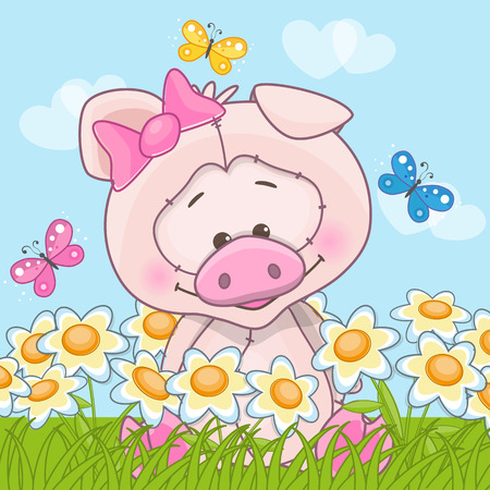 Pig with flowers and butterflies Vector