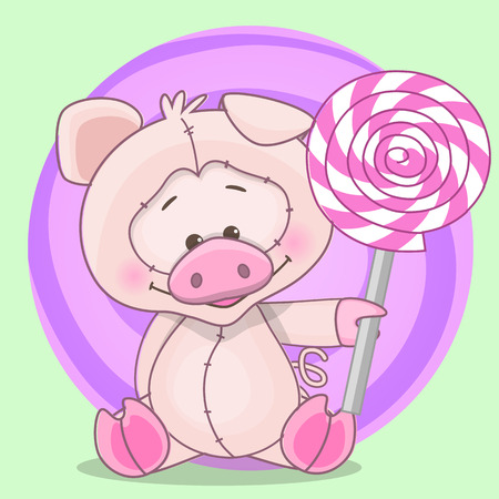 child birth: Cute pig with pink candy Illustration