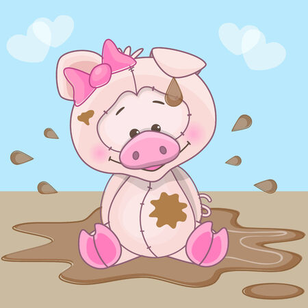 Pig is sitting in a mud puddle Vector