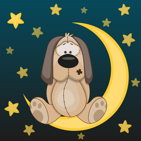 cute dog is sitting on the moon Vector