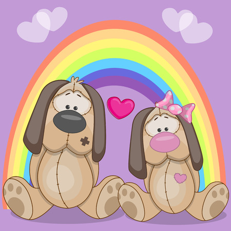 cartoons animals: Valentine card with Lovers Dogs