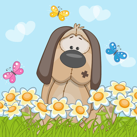 child birth: Dog with flowers and butterflies