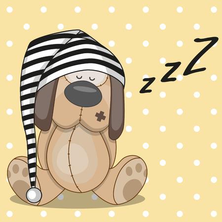 dog sleeping: Sleeping dog in a cap Illustration