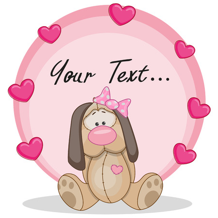 Greeting card Dog girl with hearts Vector