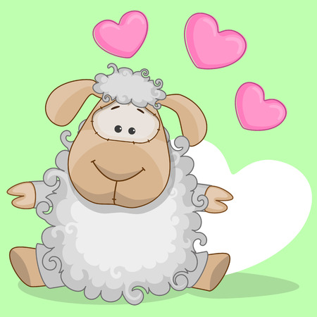 Greeting card Sheep with hearts Vector