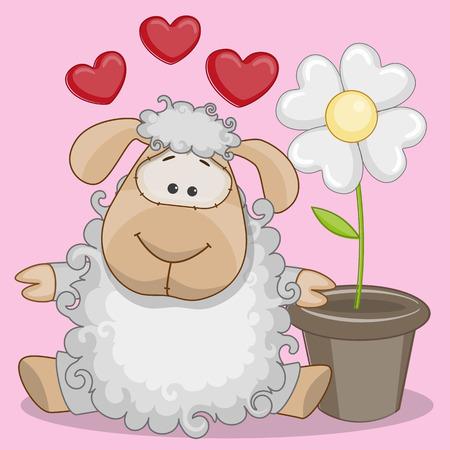 Tarjeta de felicitación de las ovejas con el corazón y la flor