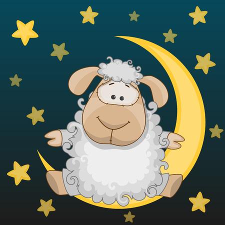 computadora caricatura: Tarjeta de felicitaci�n de las ovejas en la luna Vectores