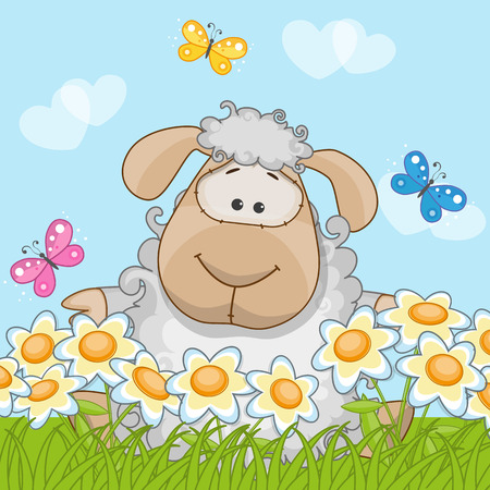 Greeting card Sheep on a meadow