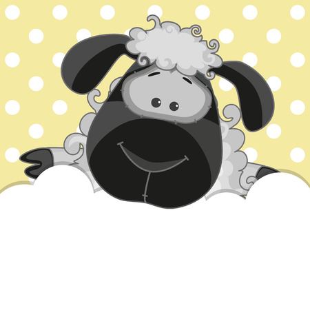 Sheep peeking out from behind the clouds Vector