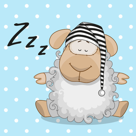 Sleeping sheep in a cap Vector