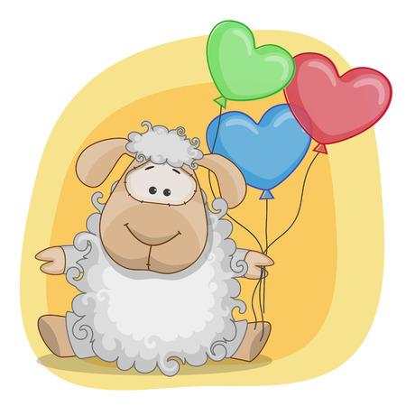Tarjeta de felicitación de las ovejas con globos