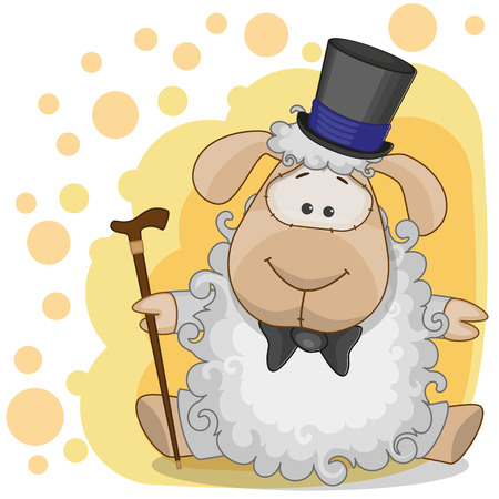 Greeting card Sheep in a hat Vector
