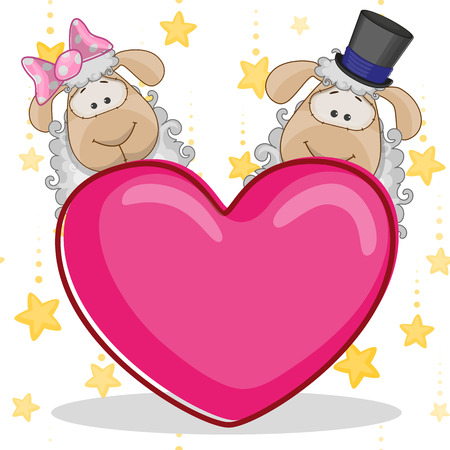 Valentine card with Lovers sheep Vector