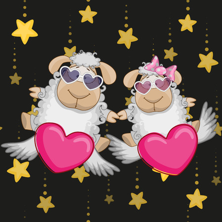 baby lamb: Valentine card with Lovers sheep Illustration