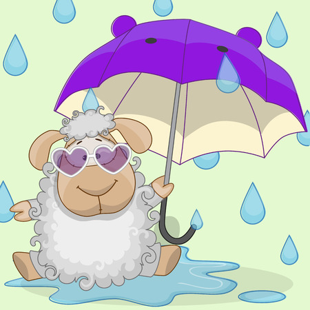Greeting card Sheep with umbrella Vector