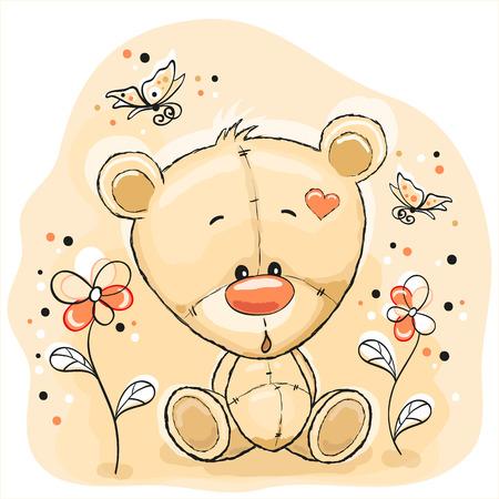 Carino Teddy Bear con fiori e farfalle Archivio Fotografico - 28460558