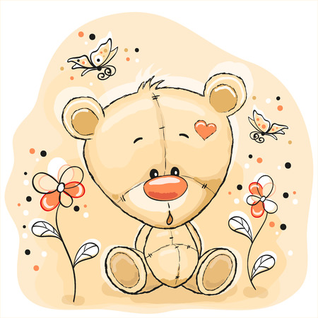 Cute Teddy Bear with flowers and butterflies 向量圖像