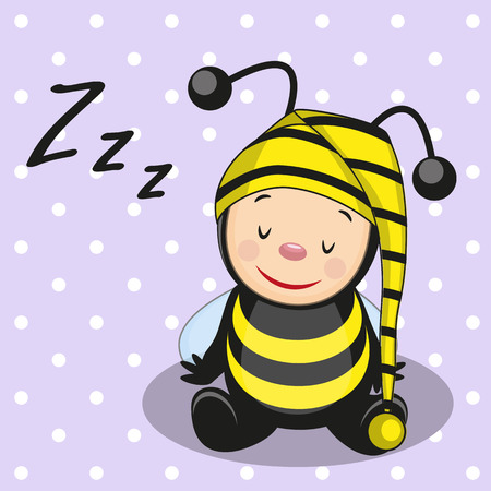 Sleeping bee in a cap Vector
