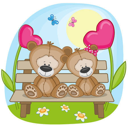 Valentine card with Lovers Bears Vector