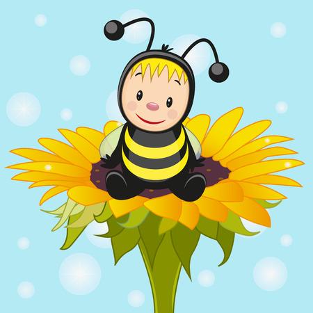 Cute cartoon bee on the flower Vector