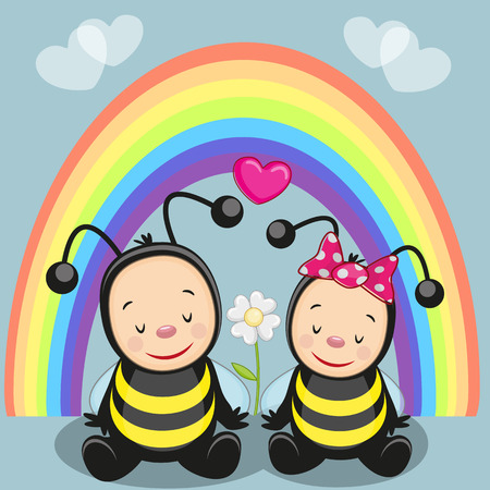 Two bees on the background of rainbow Illustration