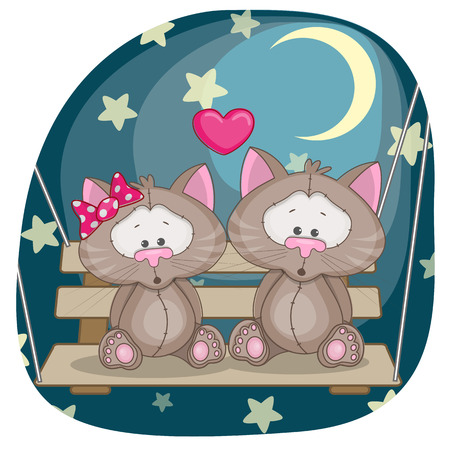 Valentine card with Lovers Cats Vector