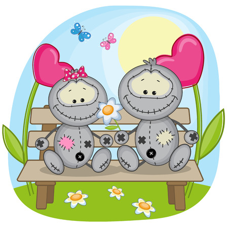 child s: Valentine card with Lovers Monsters