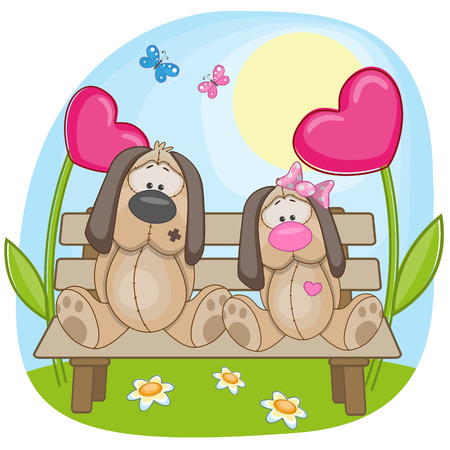 Valentine card with Lovers Dogs Vector