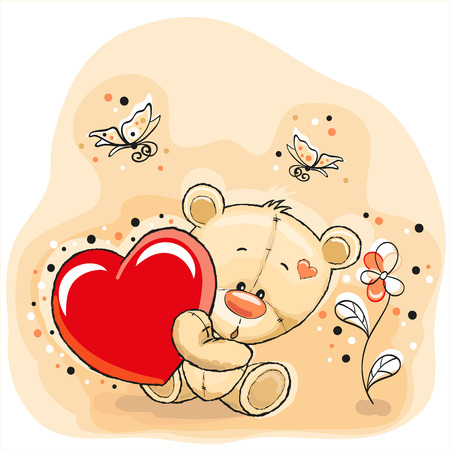 Teddy Bear mignon avec le coeur Banque d'images - 28906842