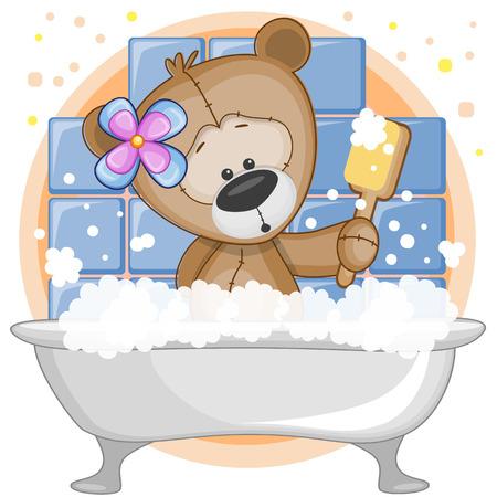 bathroom cartoon: Cute cartoon Teddy bear in the bathroom