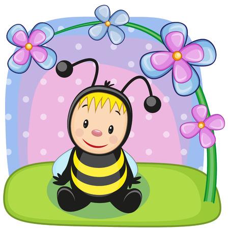 Cute cartoon bee with flowers Vector