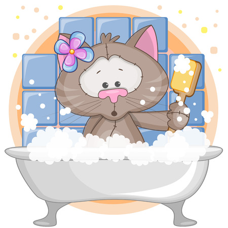 Cute cartoon Cat in the bathroom Vector