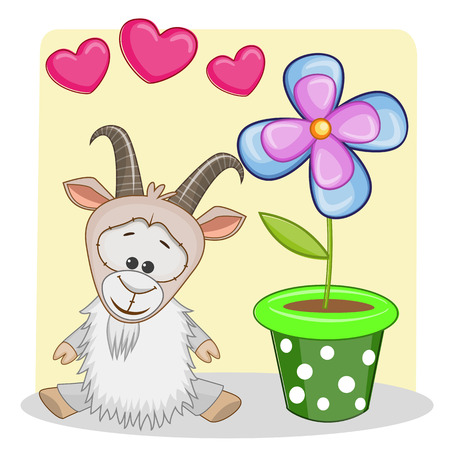 Tarjeta de felicitación de la cabra con corazones y flores