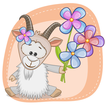 Greeting card Goat with flowers
