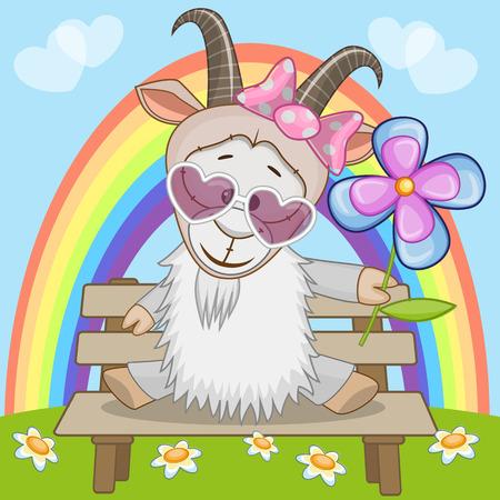 Wenskaart Geit met bloem Stock Illustratie