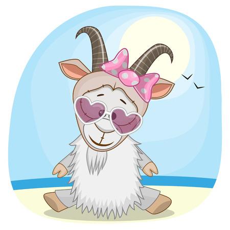 sea goat: Greeting card Goat on the sea