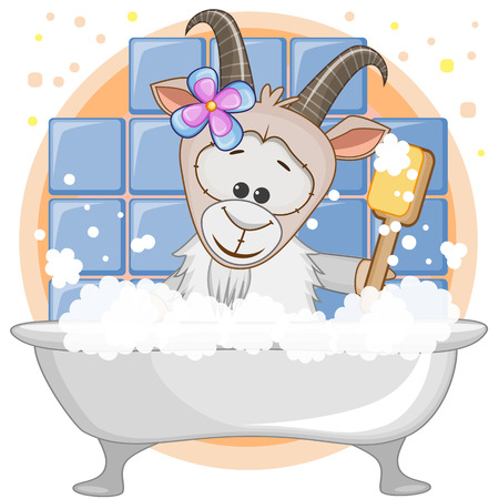 Cute cartoon Goat in the bathroom Vector