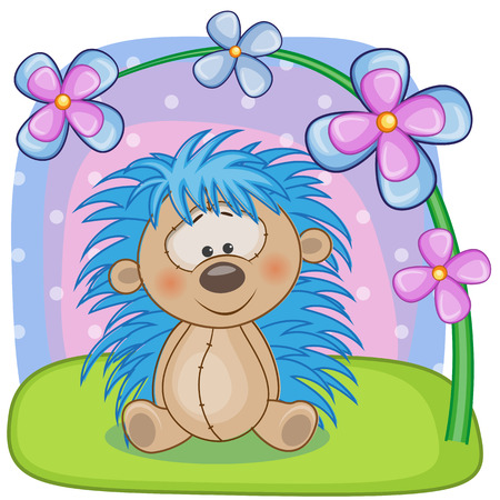 Greeting card Hedgehog with flowers Vector