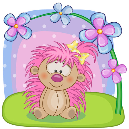 Greeting card Hedgehog girl with flowers Vector