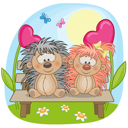Valentine card with Lovers hedgehogs Vector