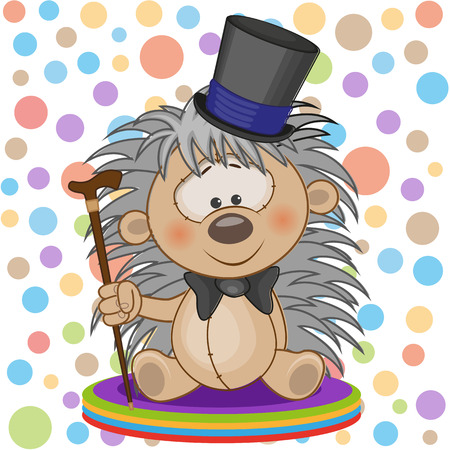 Greeting card Hedgehog in a hat Vector