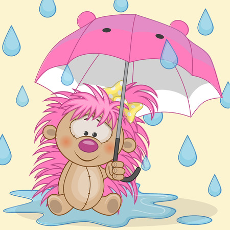 Greeting card Hedgehog with umbrella Vector