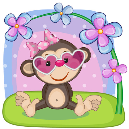 Greeting card Monkey with flowers Vector