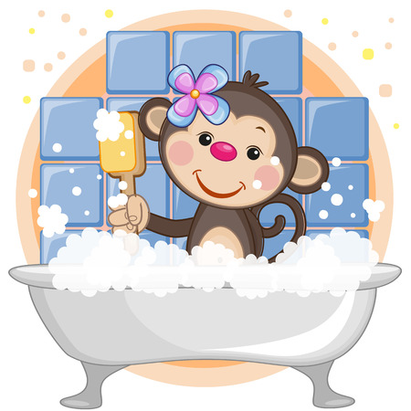 Cute cartoon Monkey in the bathroom