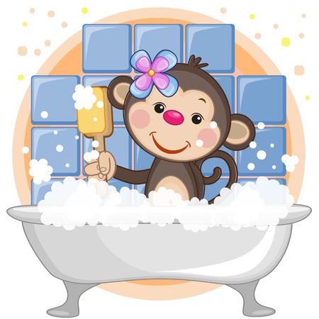caricaturas de animales: Mono lindo de la historieta en el baño
