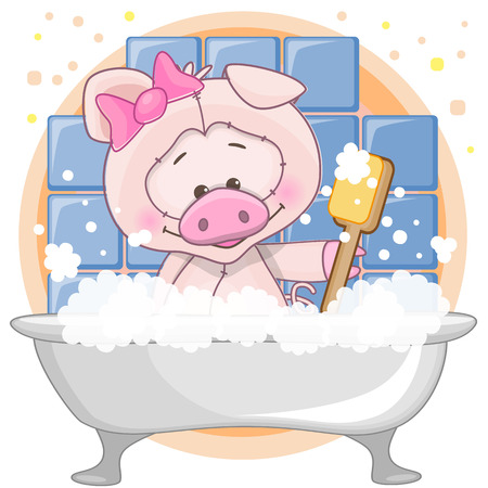 Cute cartoon Pig in the bathroom Stock Vector - 29508143