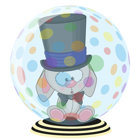 Greeting card rabbit in a hat Vector