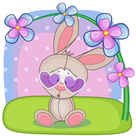 bunny rabbit: Cute rabbit with flowers