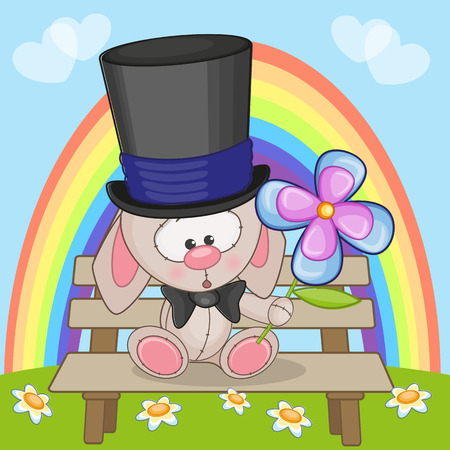 Cute rabbit with flower on the bench Vector